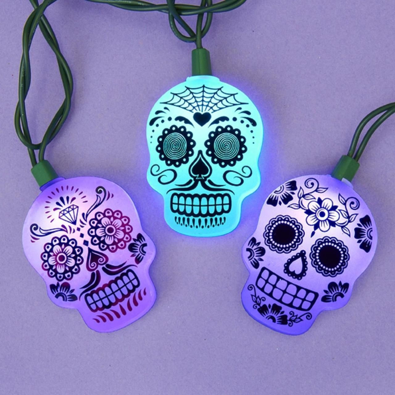 Set of 10 Blue, Purple and Pink Color Changing Flat Sugar Skull ...