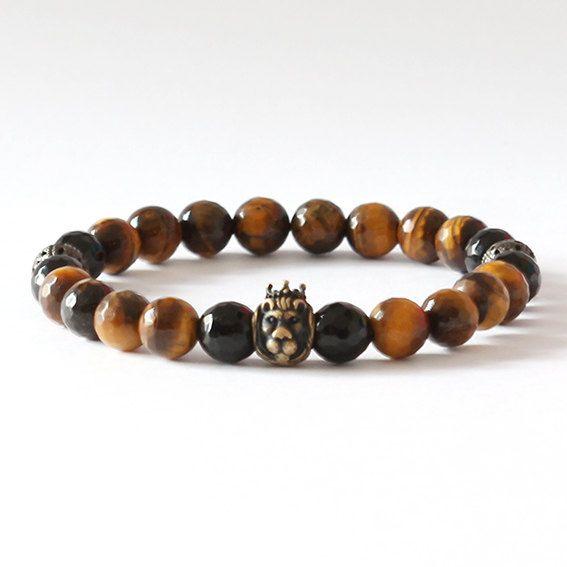 King Lion / Onyx & Tiger's Eye Bronze Lion Bracelet Black pearl silver skull bracelet #onyx #limited #tigereye #lion #mensfashion #luxury #naturalstone #bronze #bracelet #fashion #cool #mensbracelet #handmade #handmadejewellery