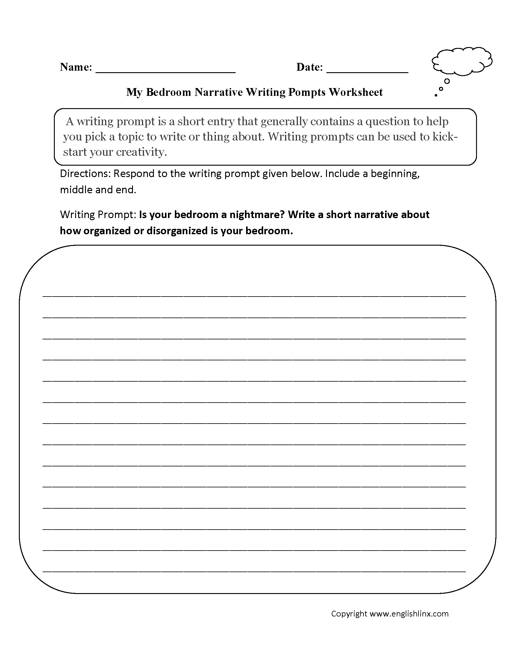 My Bedroom Narrative Writing Prompts Worksheets