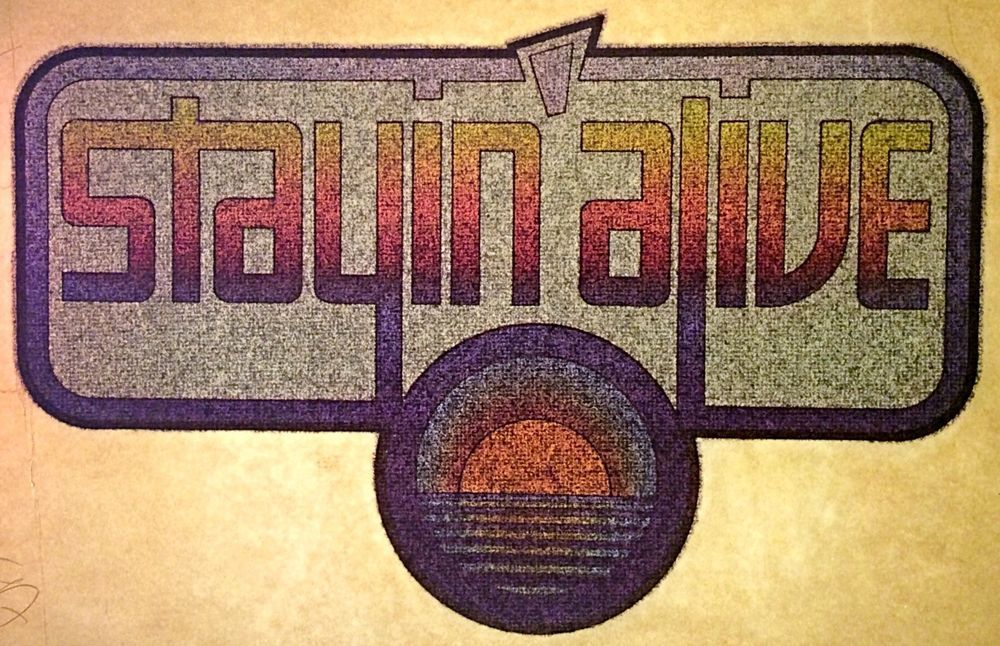 Vintage 70s Stayin' Alive Disco Full Glitter IronOn