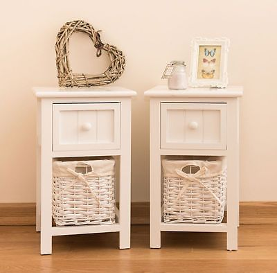 Set Of 2 Bedside Tables Pair Side Cabinet Shabby Chic Unit Narrow Bedroom White