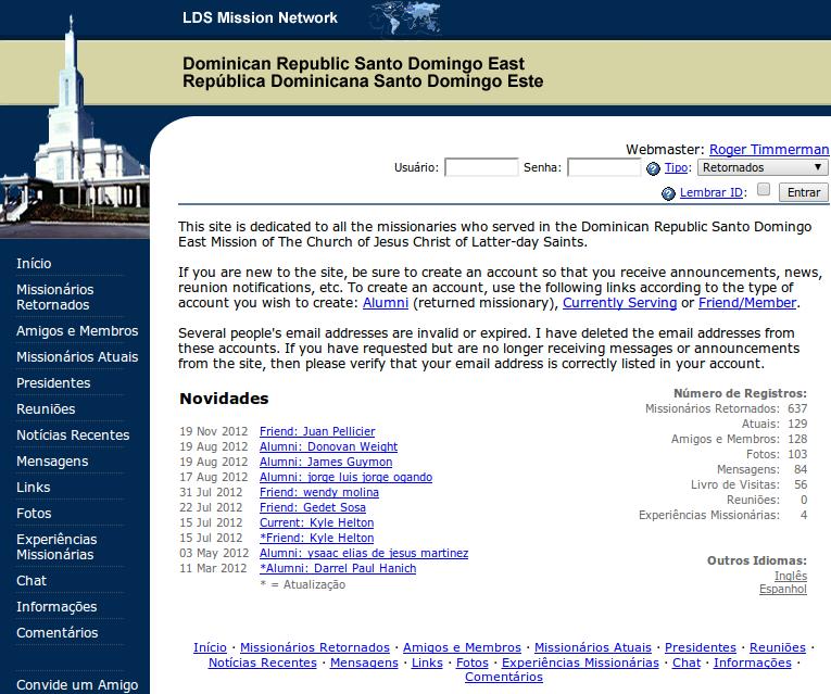 An Alumni Website For The Santo Domingo East LDS Mission