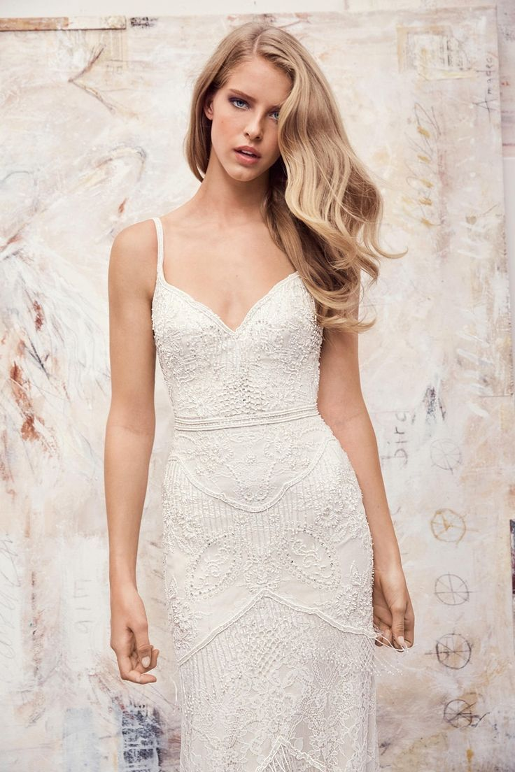 Watters spring bridal gown ferrara beaded fringe wedding