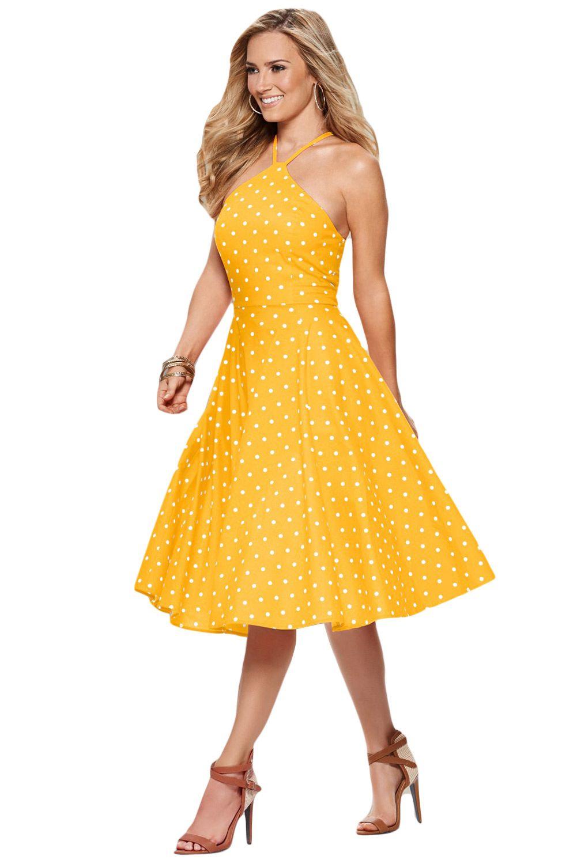 Yellow White Polka Dot Flared Vintage Dress Vintage Dresses Yellow Midi Dress Modern Vintage Dress [ 1500 x 1001 Pixel ]