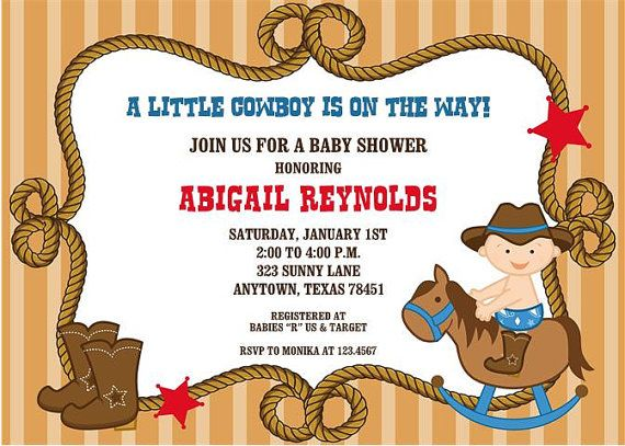 Little Cowboy Baby Shower Invitations By Paper Monkey