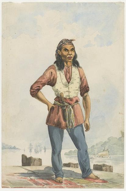"""Lukisan """"Pelaut Jawa"""" karya Ernest Hardouin, sekitar 1851"""