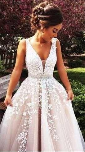 Photo of A Line Prom Dress Princess Prom Dresses, Lace Prom Gown, Bal…