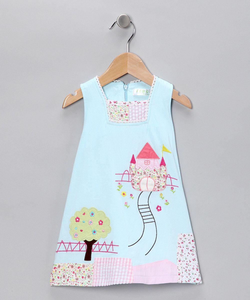 Blue Patchwork Castle Shift Dress - Infant, Toddler & Girls