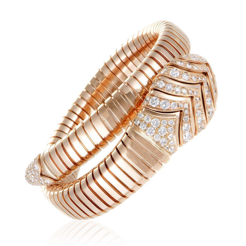 a472fc2ea13 Bvlgari Serpenti Womens 18K Rose Gold Diamond Pave Bangle Bracelet #Bvlgari