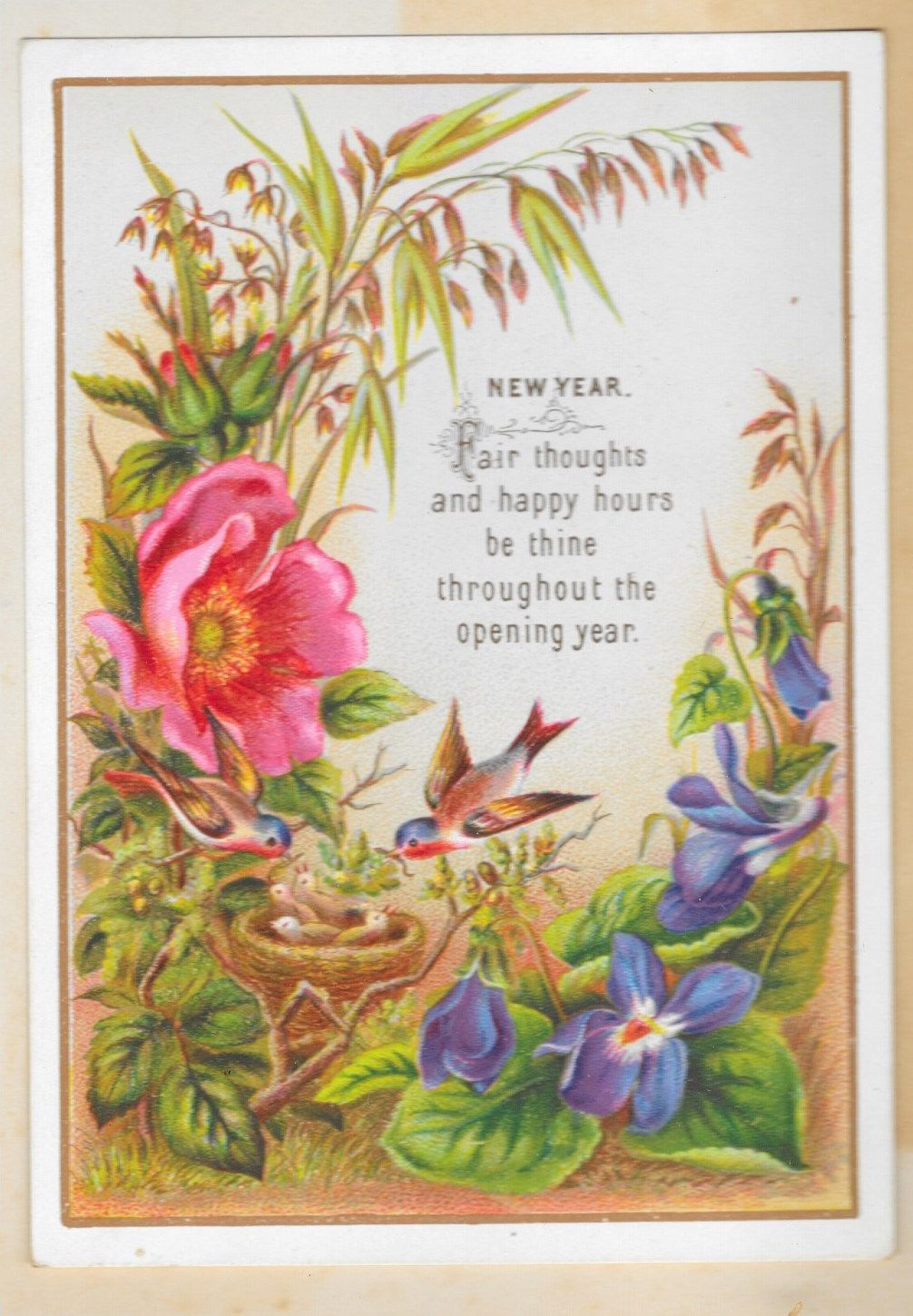 Vintage New Year's Card New year card, Newyear, Cards