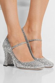 Glittered leather Mary Jane pumps