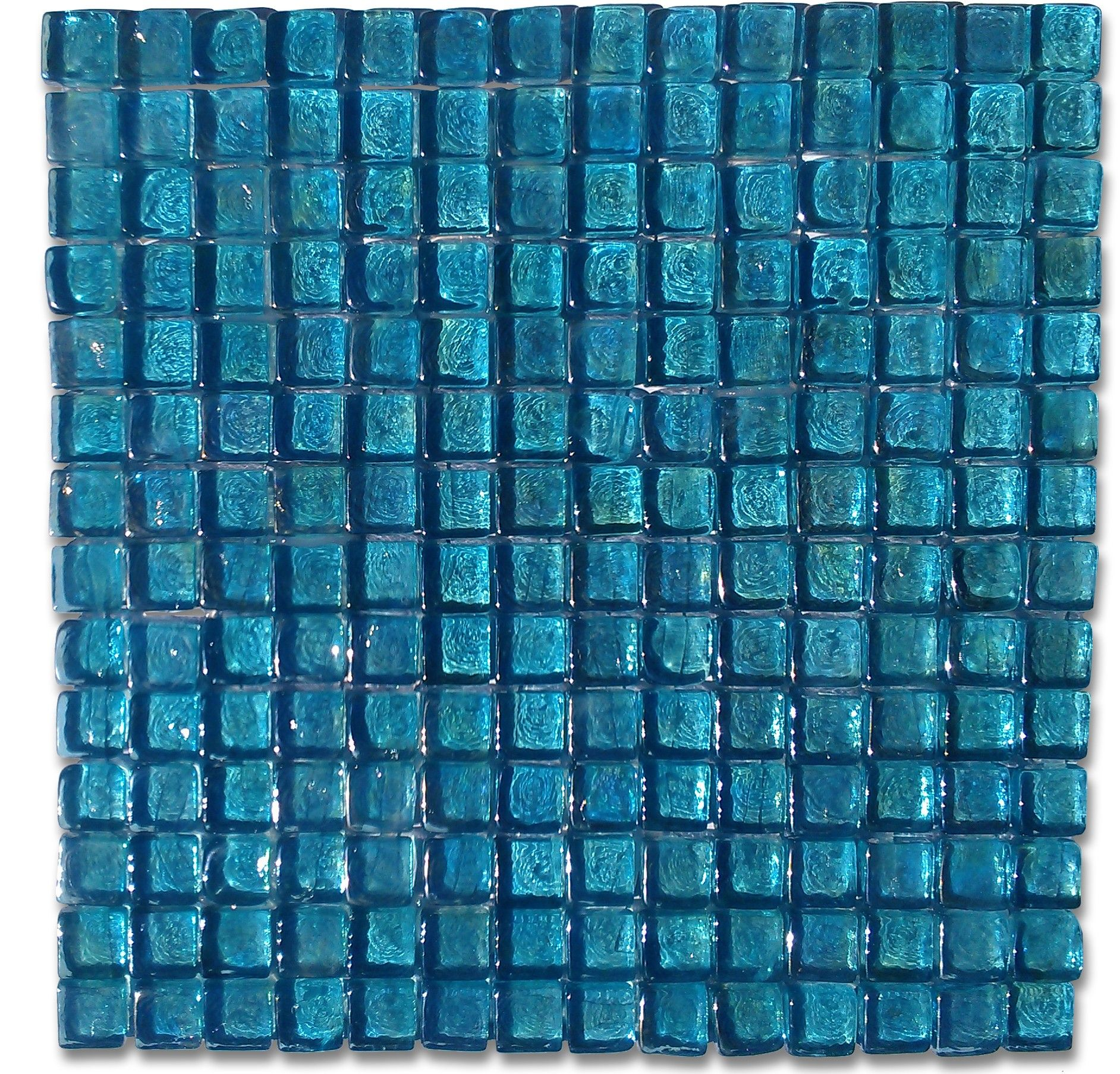 Shop 12 x 12 Gaby Azure Square Polished Glass Tile in Iridescent ...