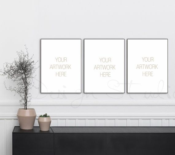 18x24 Set of three Vertical DIGITAL black Frame Mockup, Styled Stock ...