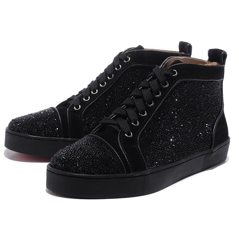 Christian Louboutin Men Glitter Nubuck High Top Sneakers Black  #christianlouboutinsneakers