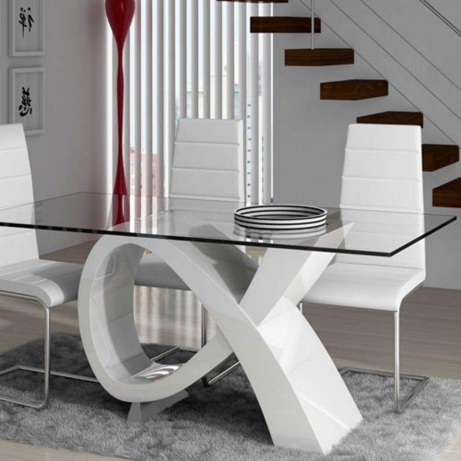 Original base laqueada con tapa de vidrio casas y for Comedores minimalistas de cristal