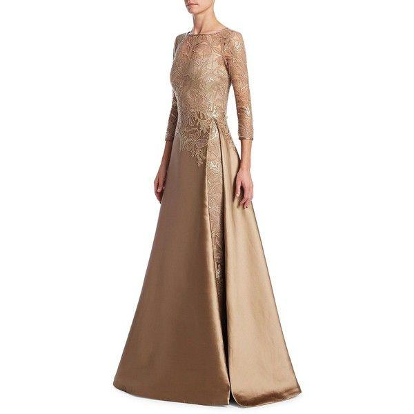 Teri Jon by Rickie Freeman Illusion Top Gown ($1,000) ❤ liked on ...