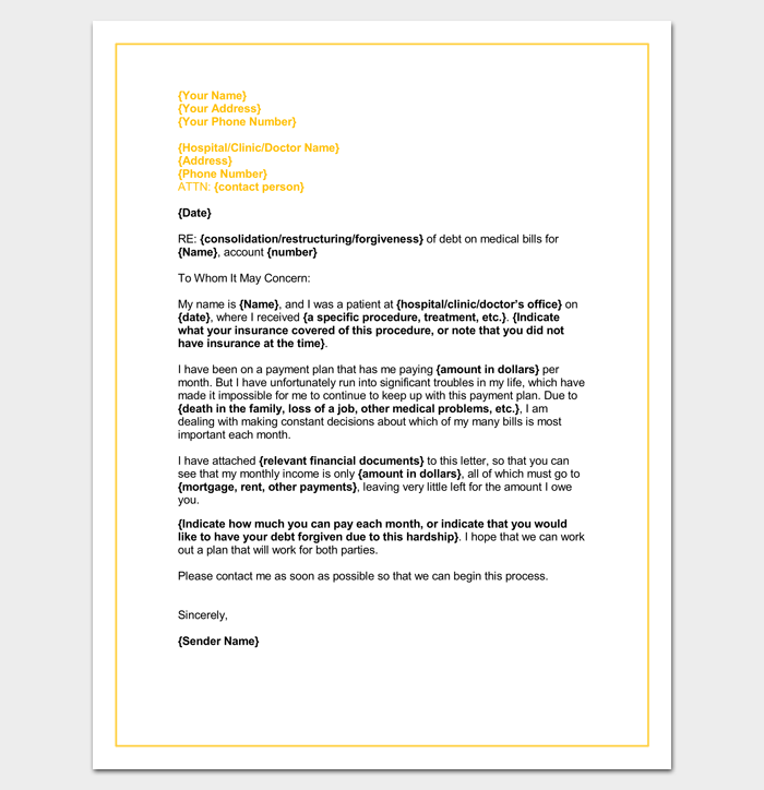 medical hardship letter template word doc sample example format
