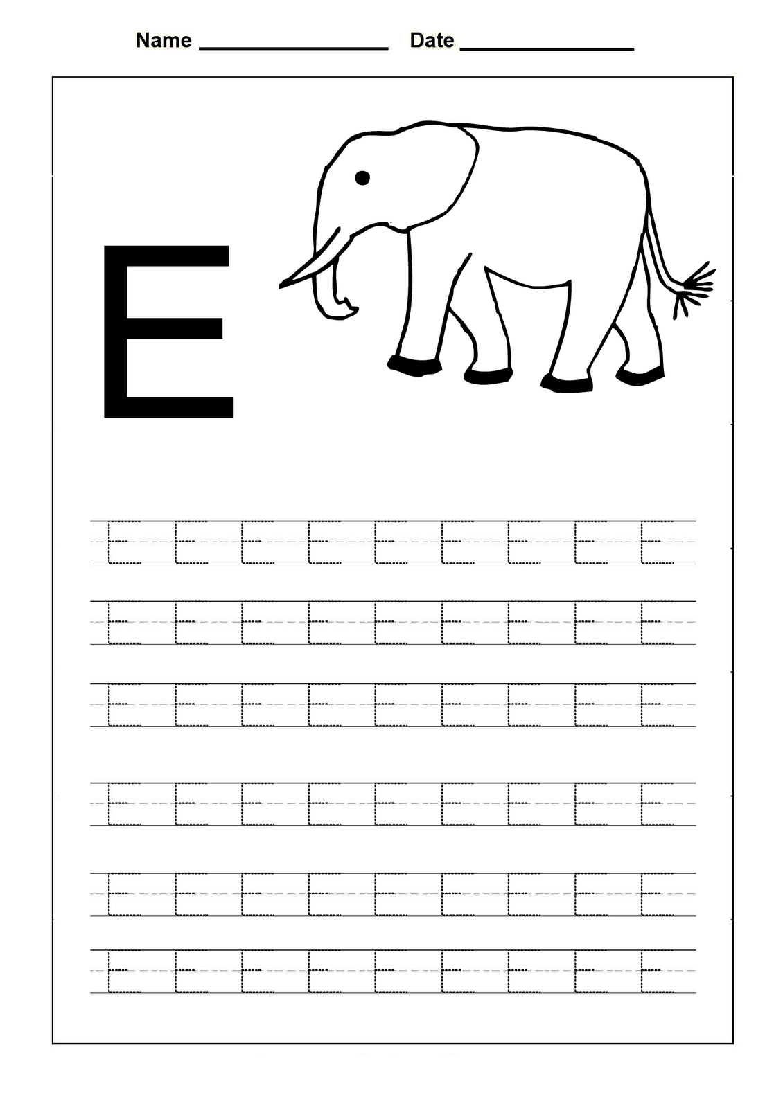 trace the letters letter e learning to write pinterest
