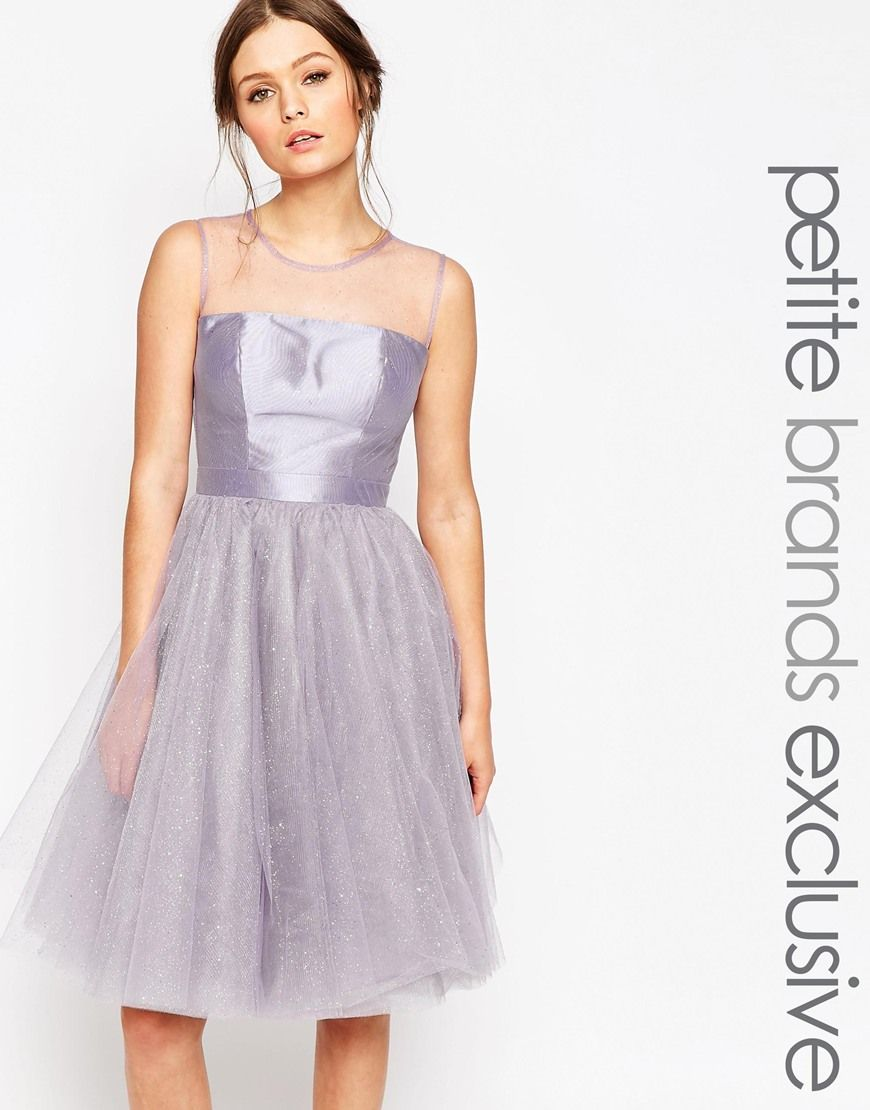 Chi Chi London Petite Sparkle Tulle Prom Dress Sparkly Cocktail Dress Sheer Prom Dress Petite Dresses