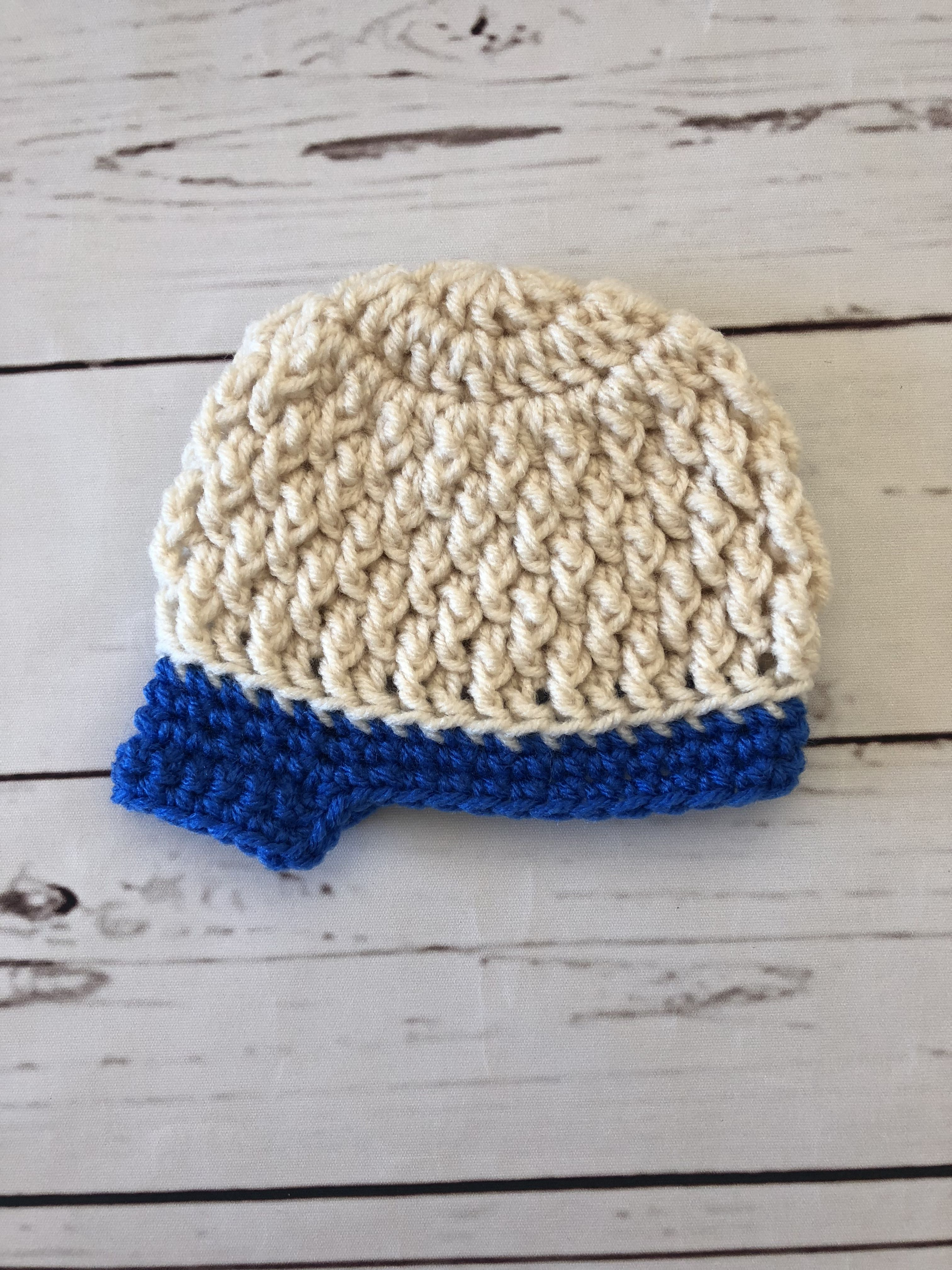 Newborn Crochet Hat - Baby Newsboy Hat - Oatmeal and Blue - Made to ...