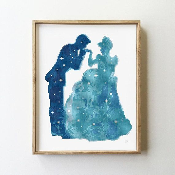 Cinderella cross stitch pattern kids baby shower nursery fairy counted starry night Silhouette- Cross Stitch Pattern (Digital Format - PDF) #stitchdisney