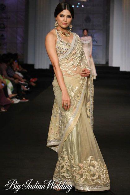 Ashima Leena golden designer saree