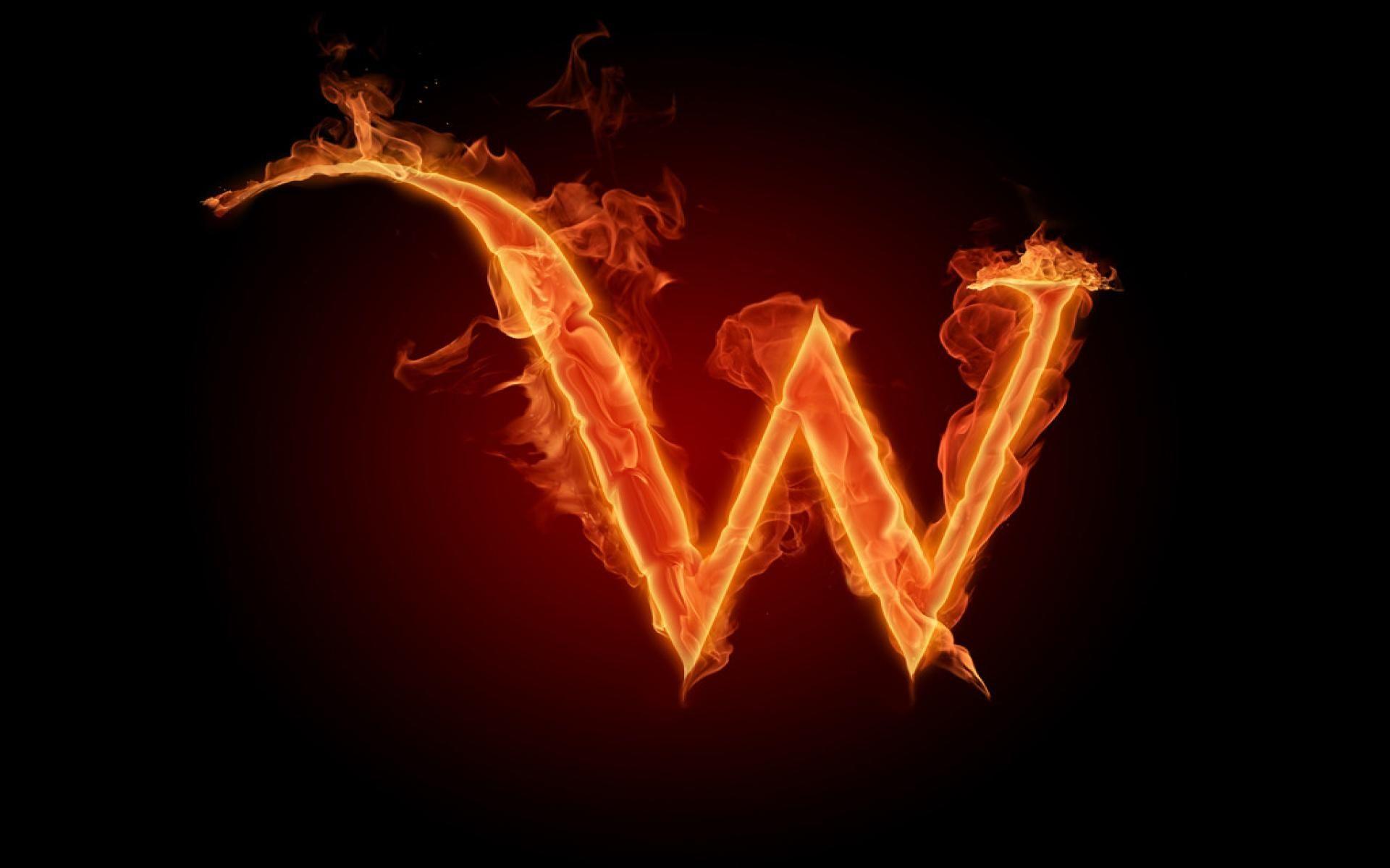Burning Fire Letter W Wallpaper