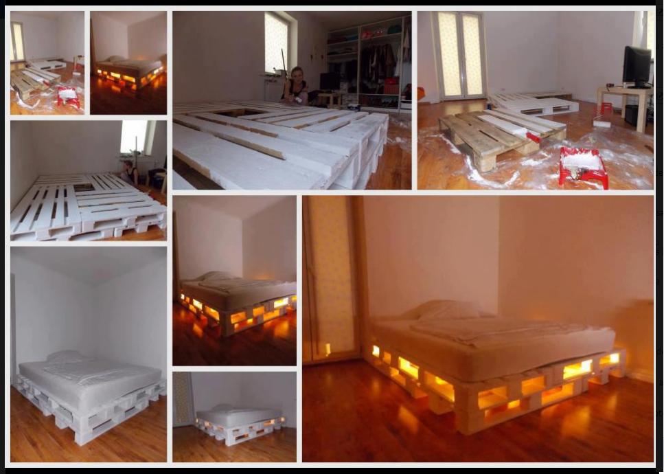 Cama de paletes  http://www.welke.nl/lookbook/Felipa/Interieurideeen/esjhu/Een-bed-gemaakt-van-pallets-Erg-orgineel-gevonden-op-faceboek-nodig.1359498584