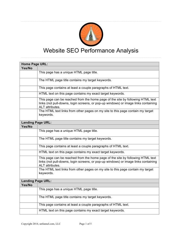 Website Seo Performance Analysis Free Template  Seo Strategy