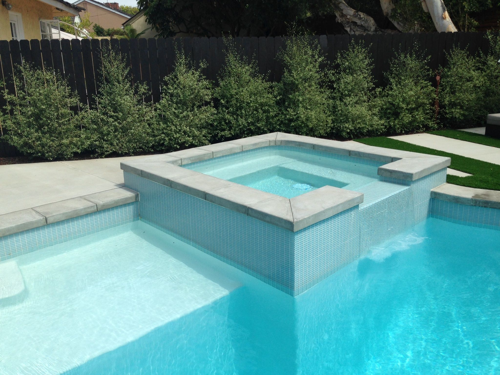 contemporary pool with poured in place coping and ann sacks glass