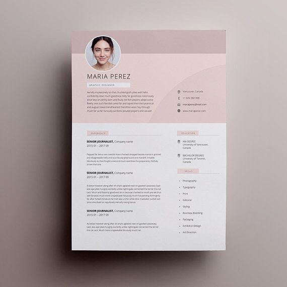 Modern Resume Design, Resume Template Word, CV Template Word, CV Design, Curriculum Vitae, Free Resume Template, Teacher Resume with Photo