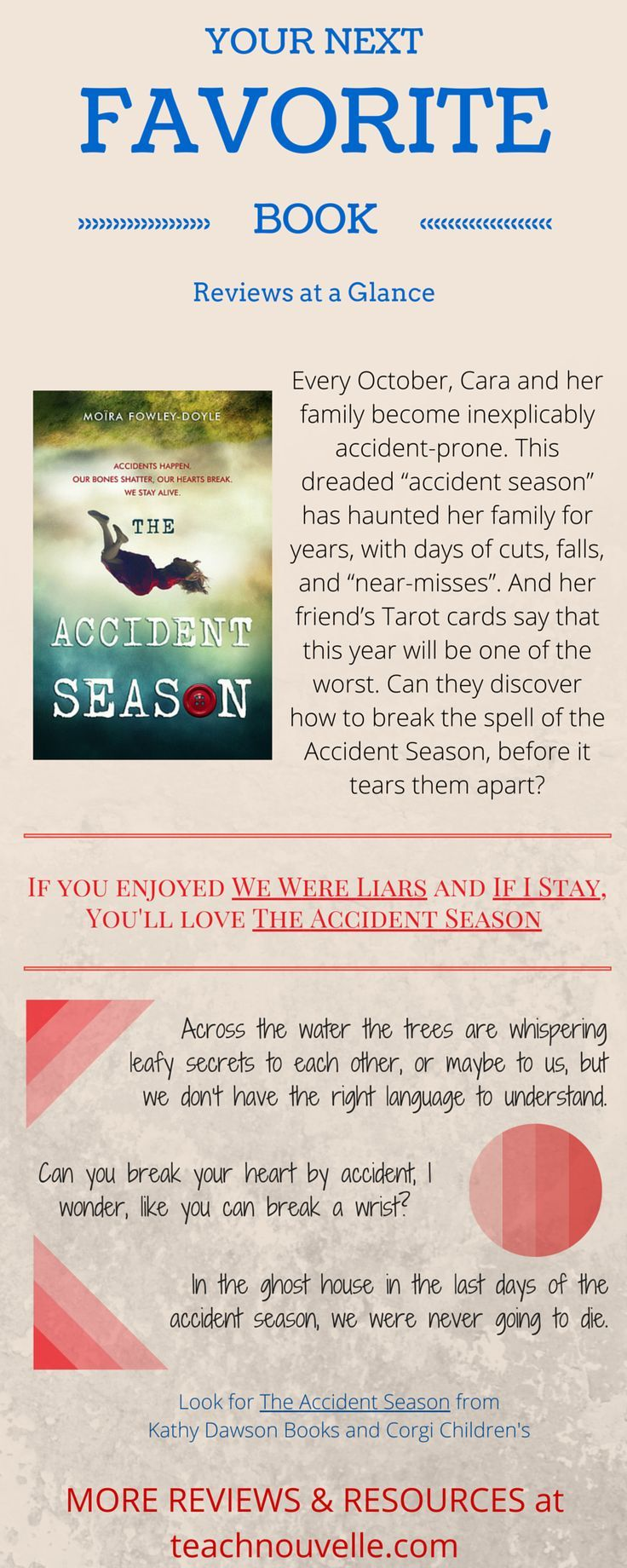 Looking for a new favorite book? Here's a Review at a Glance of Moïra Fowley-Doyle's The Accident Season. YA lit. More reviews and resources available at http://teachnouvelle.com