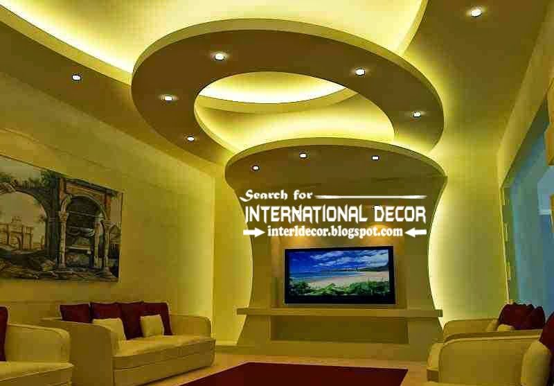 Contemporary Pop False Ceiling Designs Ideas 2015 Lighting For Living Room Tv Wall