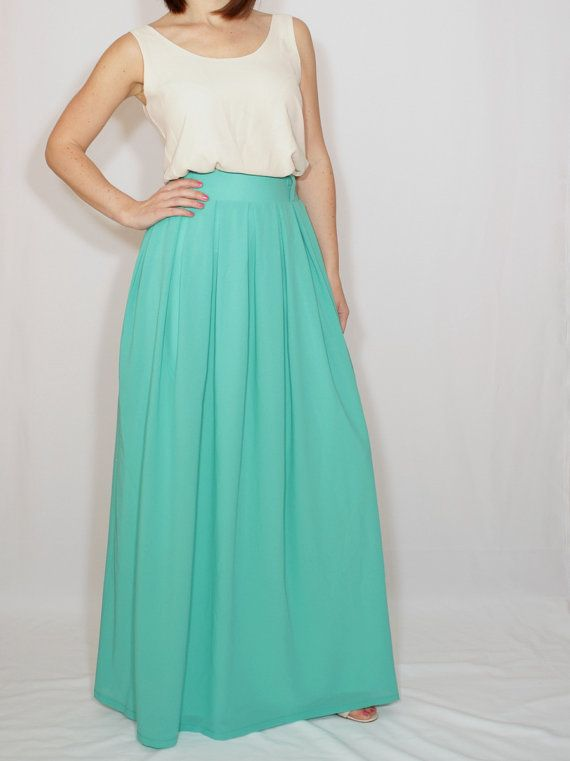 339f1acf56a7 Women maxi skirt Long turquoise skirt Chiffon skirt by dresslike Cobalt  Blue Skirts, Light Blue