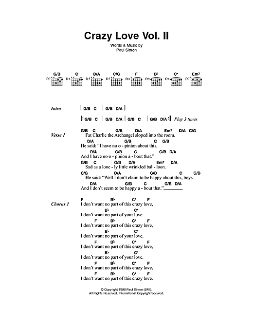 Paul Simon Crazy Love Vol Ii Sheet Music Notes And Chords For