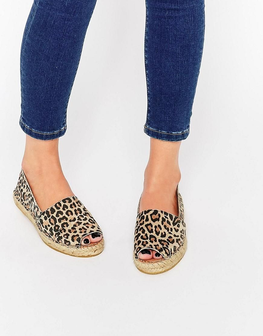 selected selected femme kamilla leopard print open toe