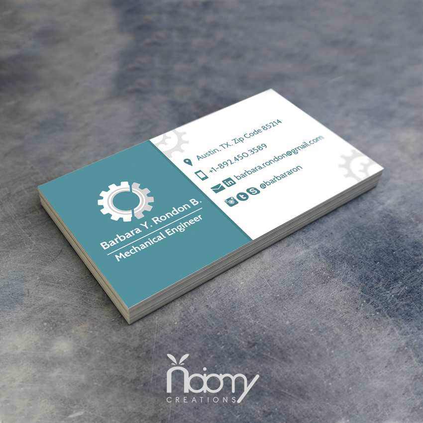 Business Card For A Engineer Design Businesscard Card Inmueble Card Mechanic Business Card Design Business Cards