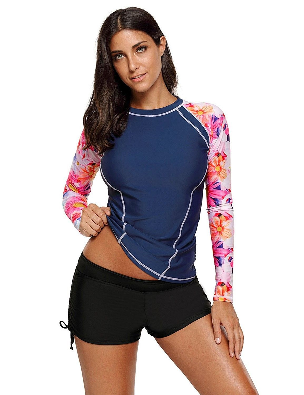 Women's Long Sleeve Printed Rash Guard Tops Athletic Swim Shirt Swimwear -  Navy - CF188NAT80S | Long sleeve rashguard, Swim shirts, Long sleeve  swimsuit