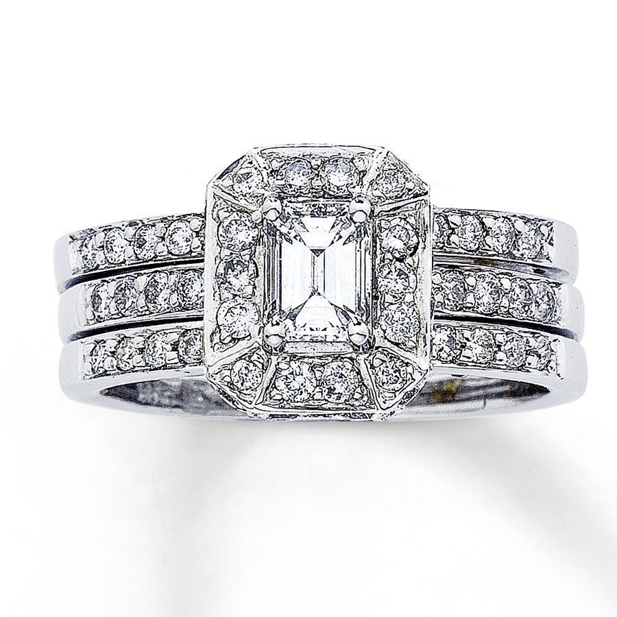 Jared Diamond Bridal Set 1 14 ct tw Emeraldcut 14K White Gold
