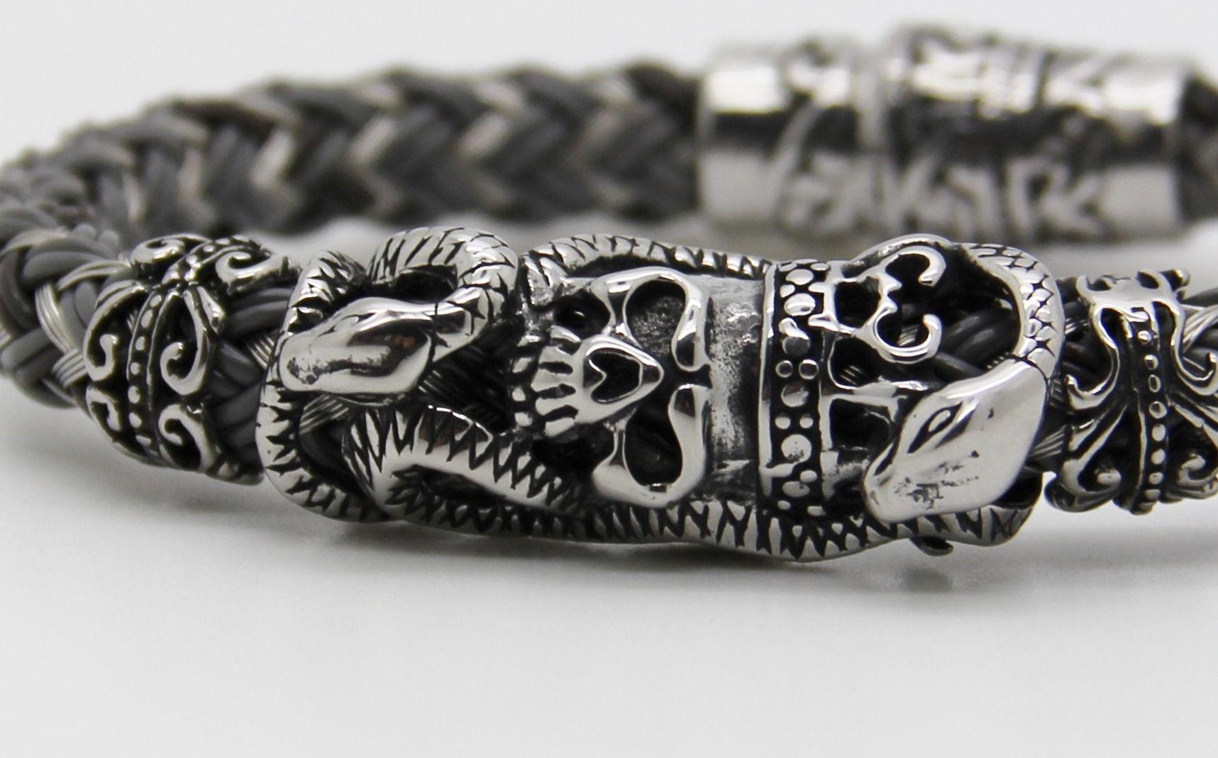prix le moins cher frais frais acheter populaire Luxueux bracelet homme BIKER crâne ,acier et cuir tressé ...