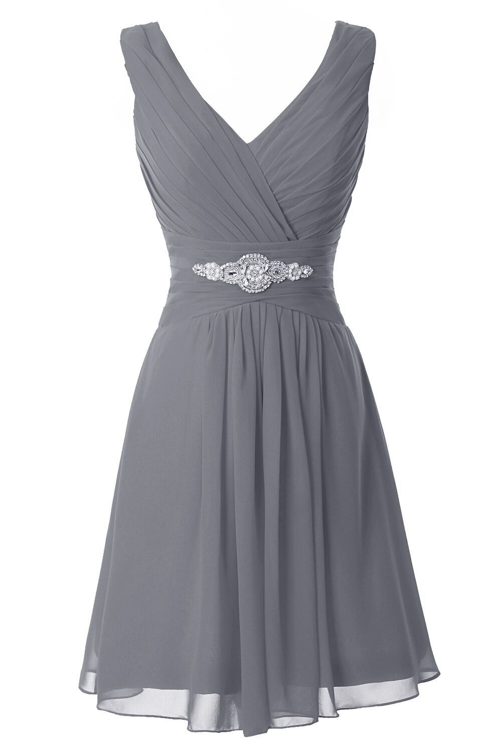 Manfei Women s V-Neck Chiffon Short Bridesmaid Dress Party Dress Gray Size 8 be4de15cfbdb