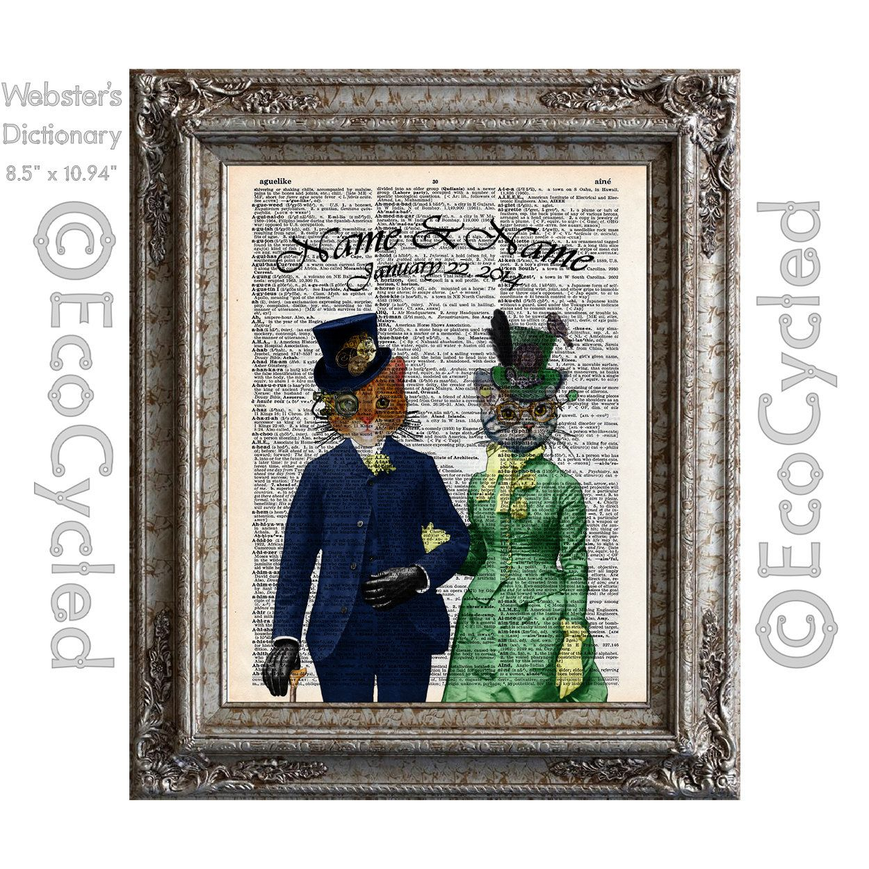 Steampunk cats in love with names u date on vintage upcycled