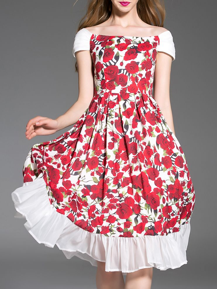 d0b0ef2fd69c Shop White Boat Neck Floral Frill Dress online. SheIn offers White Boat  Neck Floral Frill Dress & more to fit your fashionable needs.