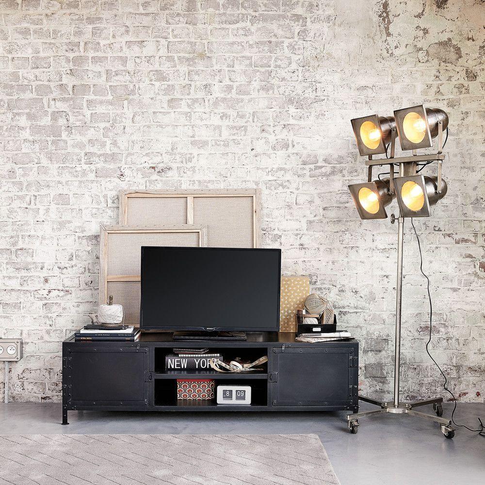 Tv Lowboard Im Industrial Stil Aus Metall Schwarz