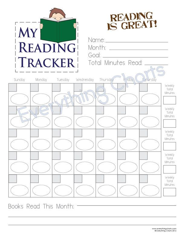 this reading chart will help a young boy keep track of minutes read