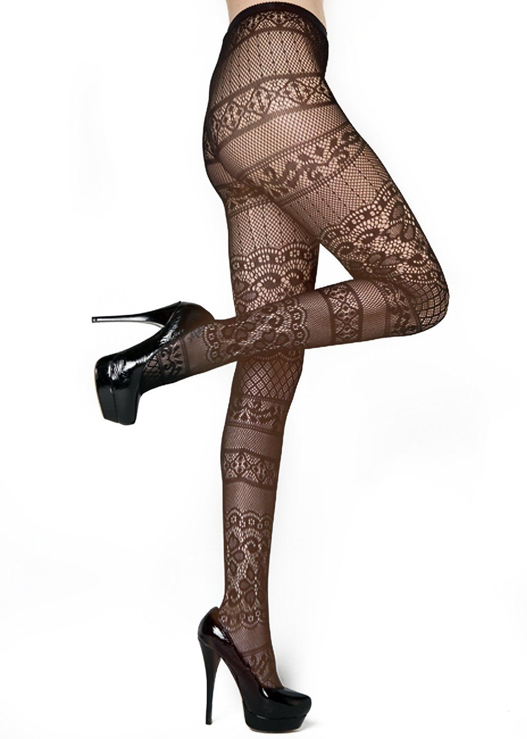 b5acb640774a6 Stella Elyse Fishnet Pantyhose, Moulin Rouge French Lace Stockings  (6110018) at Amazon Women's Clothing store: