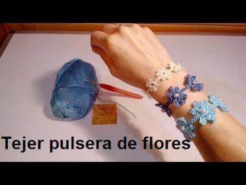 como hacer pulseras de flores de crochet