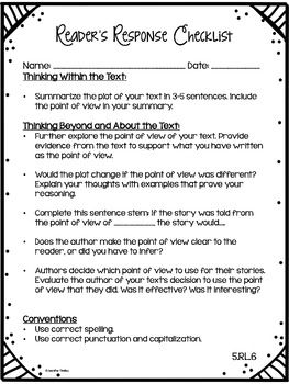 ReaderS Response Letters Th Grade Common Core All Standards