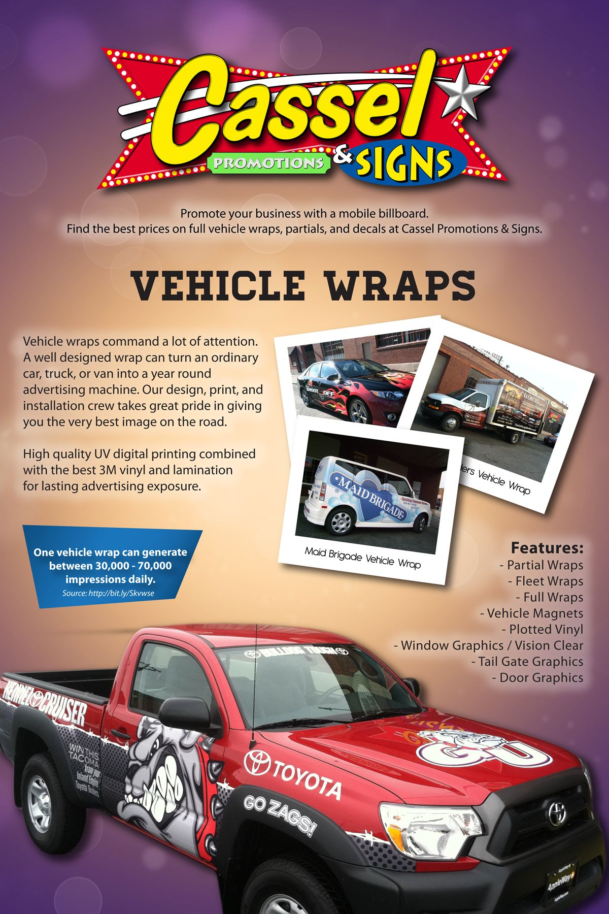Vehicle Wraps Cassel Promotions Signs Vehicle Graphics And - Promotional custom vinyl stickers for cars