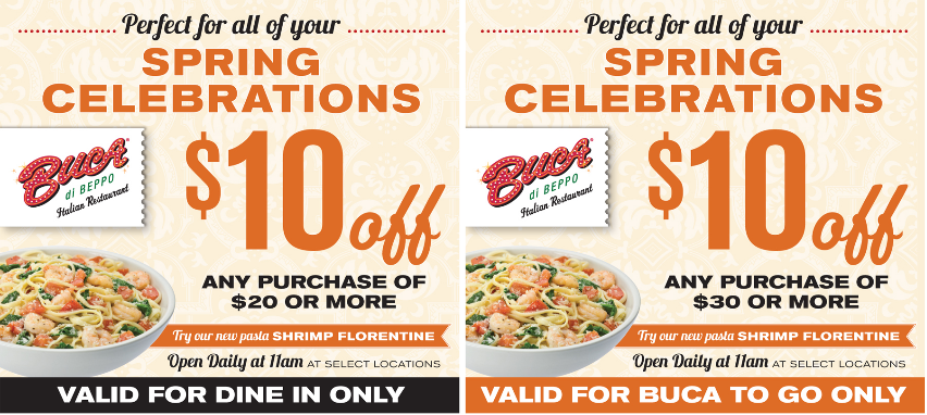 photograph relating to Buca Di Beppo Printable Coupons titled BUCA DI BEPPO $$ Coupon for $10/$20 Buy $10/$30